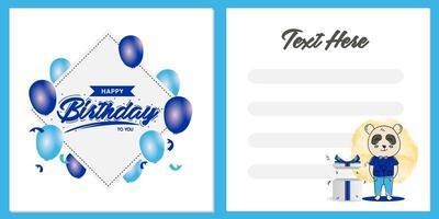 quadratische Geburtstagsfeier-Einladungskartenschablonenentwurf mit Panda-Charakterentwurf