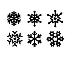 Satz Schneeflockenikonen-Entwurfssammlung auf weißem Hintergrund vektor