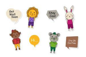 djurklistermärken med pratbubbladesign för tryck