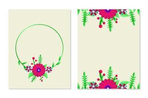 Blumengrußkartenschablonenentwurf für Layout und Deckblattkarte