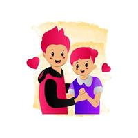 Illustration des Tanzdesigns des jungen Paares lokalisiert auf weißem Hintergrund vektor