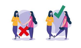 soziale Distanzierung zwischen Mädchen mit Masken Vektor-Design vektor