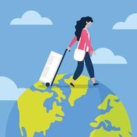kvinna med medicinsk mask och väska på världsvektordesign