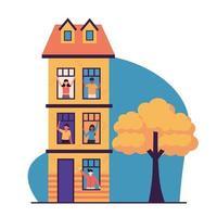 Menschen Avatare an Fenstern Gebäude Vektor-Design