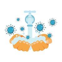 Hände waschen unter Wasserhahn und Covid 19 Virus Vektor Design