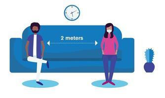 soziale Distanzierung zwischen Junge und Mädchen mit Masken auf Couchvektorentwurf vektor