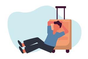 man med resväska på stolvektordesign