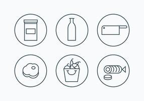 Charcuterie einfache Gliederung Icons vektor