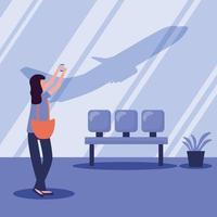 kvinna som tar bilden vid flygplatsvektordesign