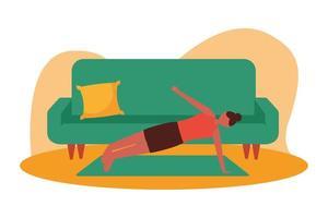 kvinna gör yoga på mattan hemma vektordesign