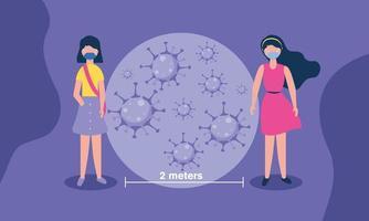 soziale Distanzierung zwischen Mädchen mit Masken Vektor-Design