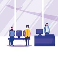 man och kvinna med medicinsk mask på flygplatsstol och mottagningsvektordesign