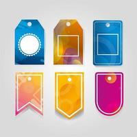 kommersiella taggar som hänger i livlig färg