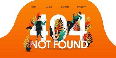 Männer, Frauen und Menschen, die über den Worten faulenzen, wurden nicht gefunden. Seite nicht gefunden 404 Design Tamplate. mit Charakter und flachem Design kann für, Landing Page, Template, UI, Web, Mobile App verwendet werden. vektor