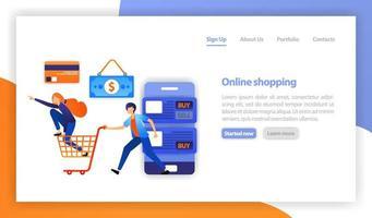 Vektor flache Illustration für Web, Banner, Landing Page, Mobile UI UX. Online-Shopping-Konzept. Rabatte und Sonderangebote. mobiles Einkaufen. Handel und Kauf. Shopaholic Mädchen stehen auf einem Einkaufskorb
