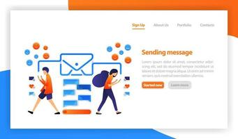 flache Vektorillustration für Web, Banner, Landingpage, Handy. Konzept der E-Mail-Nachricht. Instant Messaging und Chat. Onlinekommunikation. Kommunikation über das Internet, soziale Netzwerke, Chat