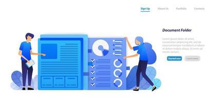 Organisieren und Aufräumen von Papierdokumenten des Finanzdatendiagramms des Unternehmens in einem Ordner zur Verwaltung. flaches Illustrationskonzept für Landing Page, Web, UI, Banner, Flyer, Poster, Vorlage, Hintergrund