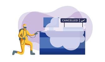 Mann mit Schutzanzug, der Flughafenempfangsvektorentwurf sprüht