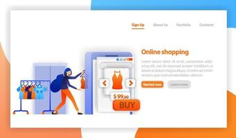 säljaren säljer kläder till webbutiken. onlinehandel, köp och försäljning. onlinebutik marknadsföringskoncept. affärsidé för m-handel. platt vektorillustration för webb, banner, målsida, mobil vektor