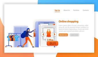 Verkäufer verkaufen Kleidung an Online-Shop. Online-Handel, Kauf und Verkauf. Online-Shop-Marketing-Konzept. Geschäftskonzept für M-Commerce. flache Vektorillustration für Web, Banner, Landingpage, Handy vektor