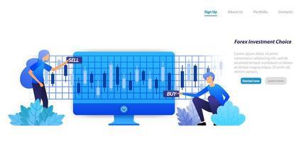 Åtgärd mot en finansiell investering köp försäljnings- eller förlustvinster är risk i valutainvesteringar. platt illustration koncept för målsida, webb, ui, banner, flygblad, affisch, mall, bakgrund vektor
