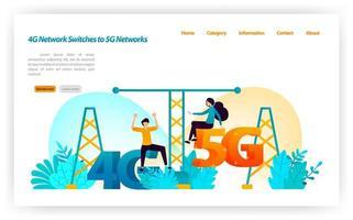 övergång och byte av 4g lte-nätverk till senaste 5g-nätverk. växlar internetnätverk och trådlösa enheter. vektor illustration koncept för målsida, ui ux, webb, mobilapp, affisch, banner