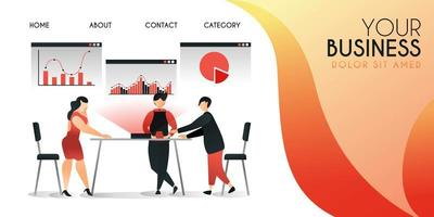 Gruppe von Menschen, die neue Technologien versuchen, um ihre Arbeit zu präsentieren, Vektor-Illustration-Konzept, kann für Präsentation, Web, Banner ui ux, Landing Page verwendet werden vektor