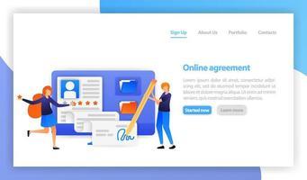 flache Vektorillustration für Web, Banner, Landing Page, Mobile, UI. Geschäftsmann, der Online-Vertragsvereinbarung mit Computer unterzeichnet. intelligentes digitales Vertragszeichen. Partnerschaft, Deal, Verhandlungskonzept vektor