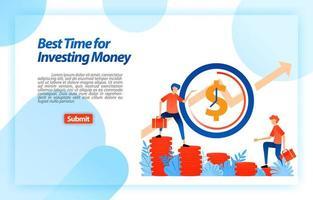 bestäm bästa tiden att välja en investering. möjlighet i rätt tid att sätta upp en affärsstrategi. vektorillustrationskoncept för målsida, ui ux, webb, mobilapp, affisch, banner, mall, annons vektor