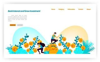 få bästa bankränta och växa finansiella investeringar från olika valutor dollar, euro, rupiah. vektor illustration koncept för målsida, ui ux, webb, mobilapp, affisch, banner, webbplats, annonser