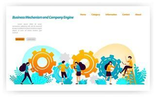 Mechanismus und Konstruktion beim Aufbau von Geschäftsstrategien und Ausrüstung bei der Entwicklung des Motorenbaus des Unternehmens. Vektor-Illustrationskonzept für Zielseite, UIux, Web, mobile App, Banner, Anzeigen
