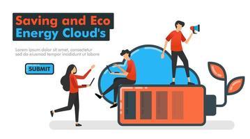 Einsparung und Öko-Energie-Clound-Linienvektorabbildung. Menschen entscheiden sich für umweltfreundliche Energie, die bei der Nutzung von Cloud-Speicher billig und effizient ist. für Zielseiten Website mobil