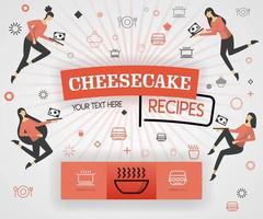 orange vektor illustration koncept. cheesecake recept recept omslagsbok. hälsosamt matlagningsrecept och utsökt matomslag kan vara för, tidskrift, omslag, banner, kokbok, bok. platt tecknad stil