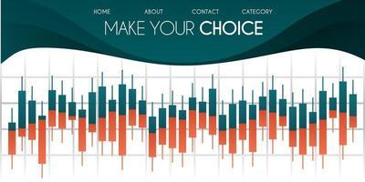 Vektorillustration für Website. Candlestick-Diagramm im Finanzmarkt mit grünem und weißem Hintergrund Forex-Handel Grafikdesign-Konzept. kann für Poster, Web, App, Dokument, Präsentation verwendet werden vektor