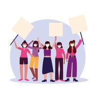kvinnor med medicinska masker och banners styrelser vektor design