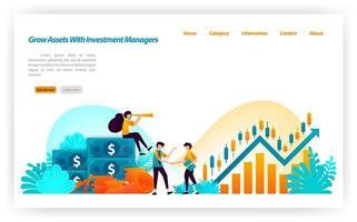 Steigern Sie das Vermögen von Finanzinvestoren mit Marktinvestitionsentscheidungen mit Finanz- und Investmentmanagern. Geld auf Lager. Vektor-Illustrationskonzept für Zielseite, UIux, Web, mobile App, Banner, Anzeigen vektor