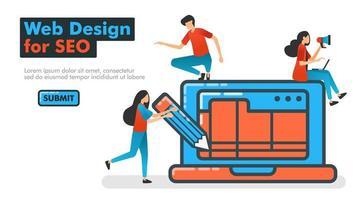 webbdesign för seo linje vektorillustration. webbdesign med programvara och applikationer på bärbara datorer med penna och trådram för att optimera SEO på sökmotorer. målsidor webbplats banner mobilannons vektor