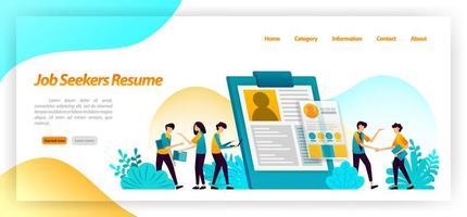 Arbeitssuchende wieder aufnehmen. Bewerbungsformular, um Arbeitnehmer oder Angestellte für Vorstellungsgespräche zu finden. Vektor-Illustrationskonzept für Landing Page, UIux, Web, mobile App, Poster, Banner, Website, Flyer, Anzeigen vektor
