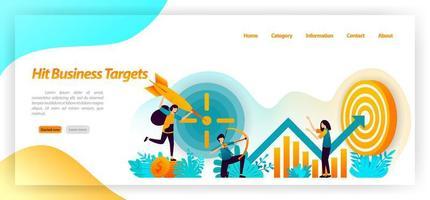 Geschäftsziel erreichen. Bogenschießen Erfolgsziele mit Strategie und Fokus auf Grafikdaten und Analyse. Vektor-Illustrationskonzept für Landingpage, UIux, Web, mobile App, Poster, Banner, Website, Flyer vektor