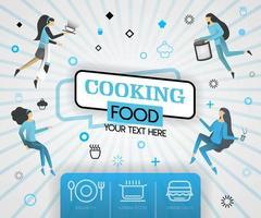 blå vektor illustration koncept. matlagningsrecept omslagsbok. hälsosamma matlagningsrecept och utsökt matomslag kan vara för, tidskrift, omslag, banner, webbplats, kokbok, bok, mobil. platt tecknad
