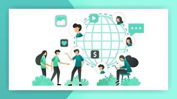 Network Marketing ausbauen. Lernen Sie viele Menschen aus aller Welt kennen. Einfluss auf den Markt verbreiten und fördern. Vektor-Illustrationskonzept für Landingpage ui ux Web Mobile App Poster Banner Flyer vektor
