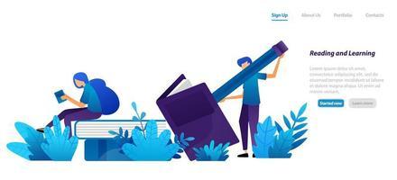 lära eller studera designkoncept för skola och utbildning, läsa böcker med stillastående och pennor. platt illustration koncept för målsida, webb, ui, banner, flygblad, affisch, mall, bakgrund