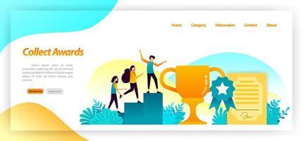 Sammle Meisterschaften wie Zertifikatstrophäen und Medaillen für die besten Siege und Erfolge im Rennen. Vektor-Illustrationskonzept für Landing Page, UIux, Web, mobile App, Poster, Banner, Website vektor
