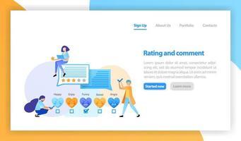 Vektor flache Illustration für Web, Banner, Landing Page, Handy. Menschen hinterlassen Feedback und Kommentare, lieben Emoticon-Bewertungen, geben 5 Sterne und lieben ein bestes Produkt, gute Erfahrung und Zufriedenheit