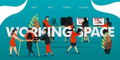 flache Zeichentrickfigur. Vektorillustration für Technologie, Startup, Kreativwirtschaft. Mitarbeiter arbeiten am Arbeitsplatz. Leute diskutieren, arbeiten mit dem Computer, analysieren Diagramme und liefern Dateien
