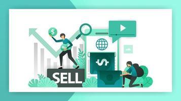 online Geld verdienen. Mobile Banking steigert den Geschäftsgewinn, die Investition durch den Verkauf von Aktien und die Gründung eines Unternehmens. Vektor-Illustrationskonzept für Landing Page UI Web Mobile App Poster Banner Flyer vektor