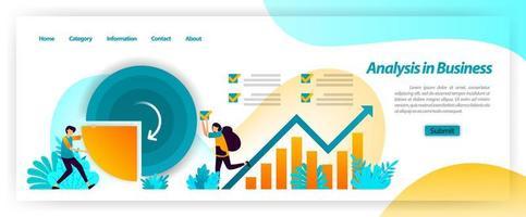 Analysieren Sie die Geschäftsdatenstatistik auf dem Unternehmensfinanzdiagramm und planen Sie Strategien durch Brainstorming mit Teamarbeit. Vektor-Illustrationskonzept für Landing Page, UIux, Web, mobile App, Poster, Banner, Anzeigen vektor