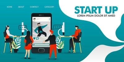 platt seriefigur. vektor illustration för teknik, start, applikation, underhållning, mobil. människor som diskuterar om ansökan. programmerare som programmerar och designers som designar.
