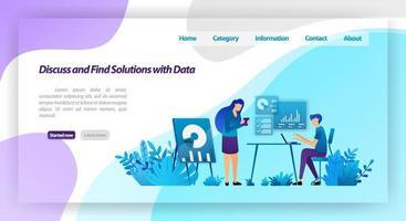Diskutieren und finden Sie Lösungen für Probleme, indem Sie Daten analysieren. Arbeitertreffen zum geschäftlichen Dialog. Vektor-Illustrationskonzept für Landingpage, UIux, Web, mobile App, Poster, Banner, Website, Flyer vektor
