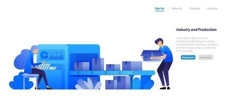 Maschinenindustrie 4.0 und Fabrikproduktion, Förderbänder Motor Send Boxen werden von einer Frau betrieben. flaches Illustrationskonzept für Landing Page, Web, UI, Banner, Flyer, Poster, Vorlage, Hintergrund